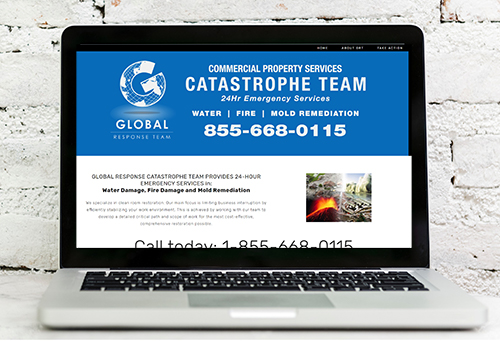 Screenshot of Global Response Team website, portfolio item.